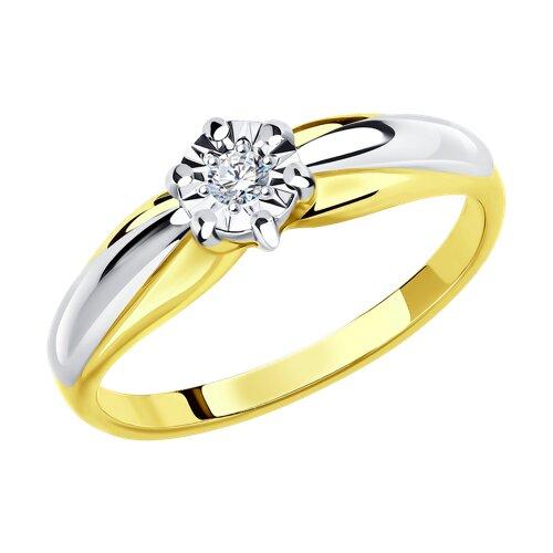 Кольцо из комбинированного золота с алмазной гранью с бриллиантом 1011578-2 SOKOLOV фото