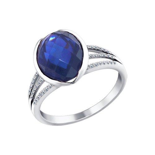 Кольцо из белого золота с бриллиантами и корундом сапфировым (синт.)