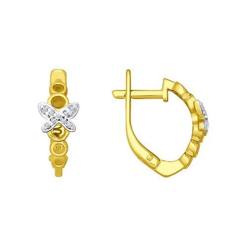 Серьги SOKOLOV из жёлтого золота с фианитами недорого