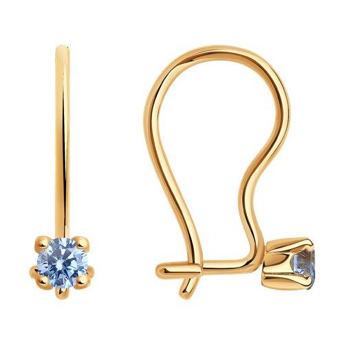 Серьги из золота с голубыми фианитами