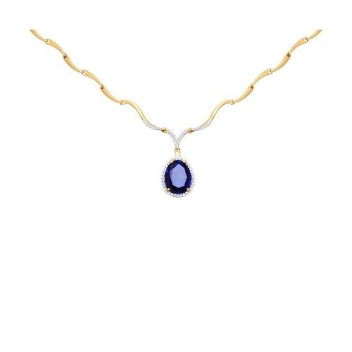 Колье из золота с бриллиантами и корундом сапфировым (синт.)