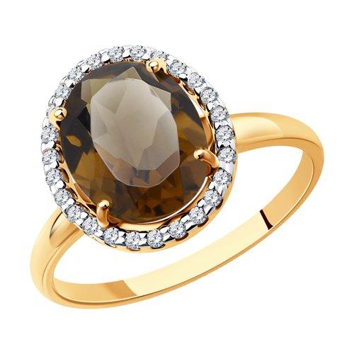 Кольцо из золота с раухтопазом и фианитами (714971) - фото