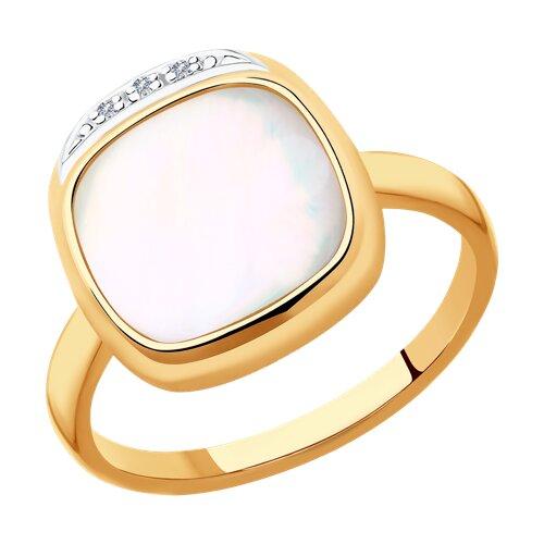 Кольцо из золота с бриллиантами и перламутром