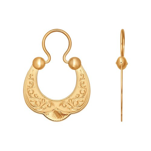 Серьги из золота с гравировкой