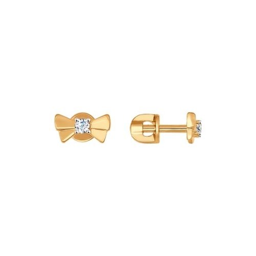Серьги-пусеты «Бантики» из золота