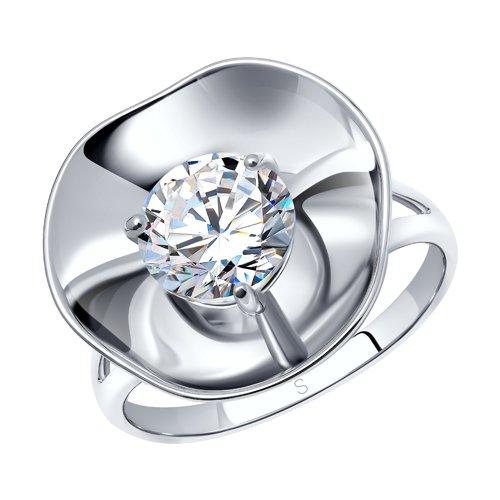 Кольцо из серебра с фианитом (8-94010001) - фото
