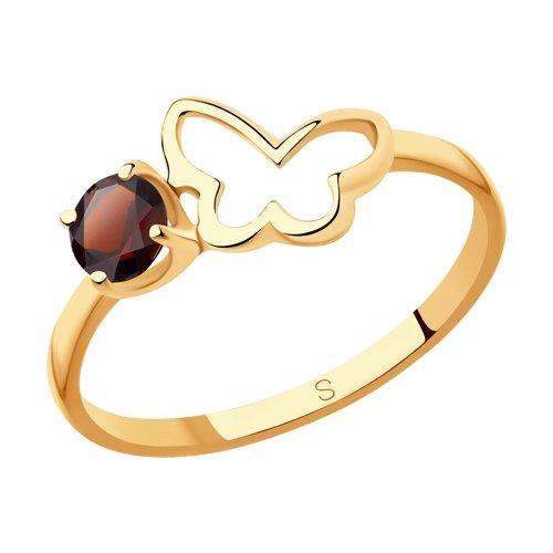 Кольцо из золота с гранатом (715907) - фото