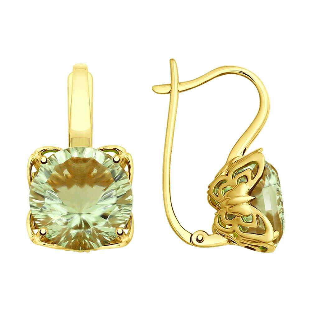 Серьги SOKOLOV из желтого золота с аметистами серьги с бриллиантами аметистами из желтого золота