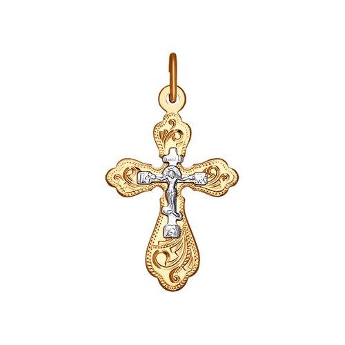 Крест из комбинированного золота с гравировкой (121216) - фото