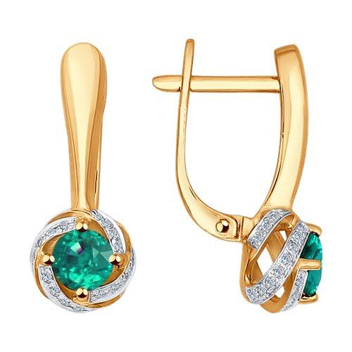 Золотые серьги с бриллиантами и изумрудами 3020429 SOKOLOV фото