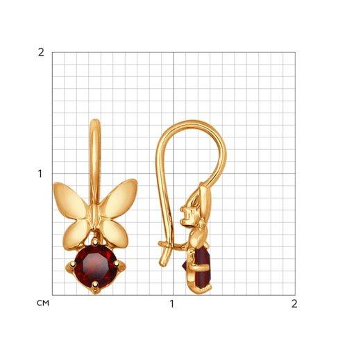 Серьги «Бабочки» из золота с гранатами