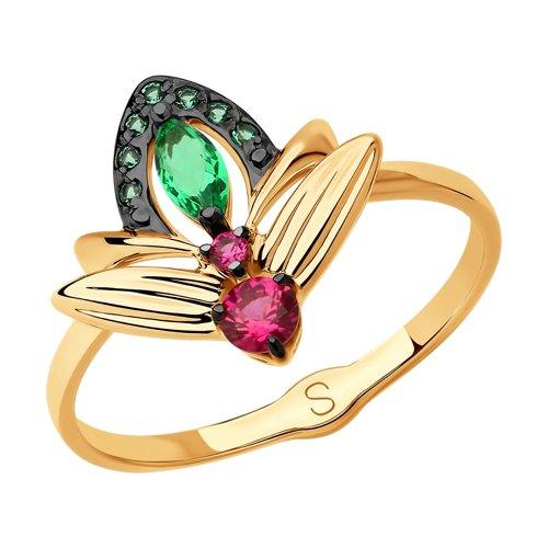 Кольцо из золота с фианитами (018110) - фото