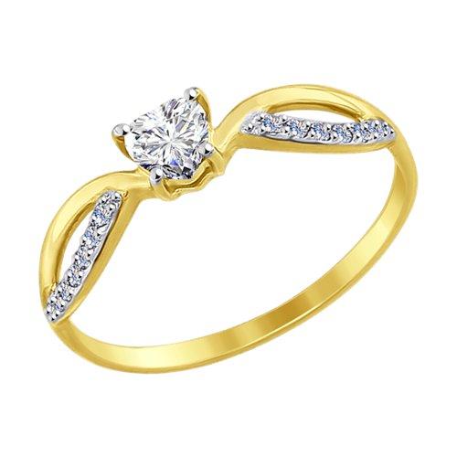 Кольцо из желтого золота (017434-2) - фото