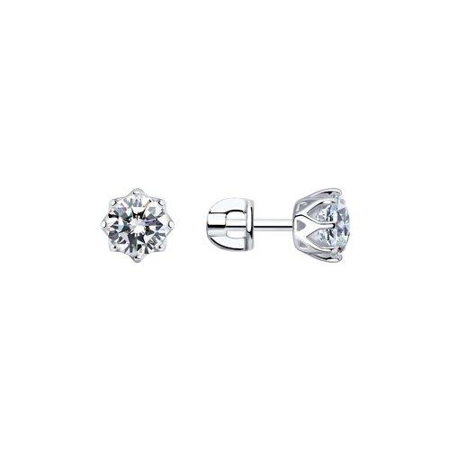 Серьги-пусеты из серебра с фианитами 89020024