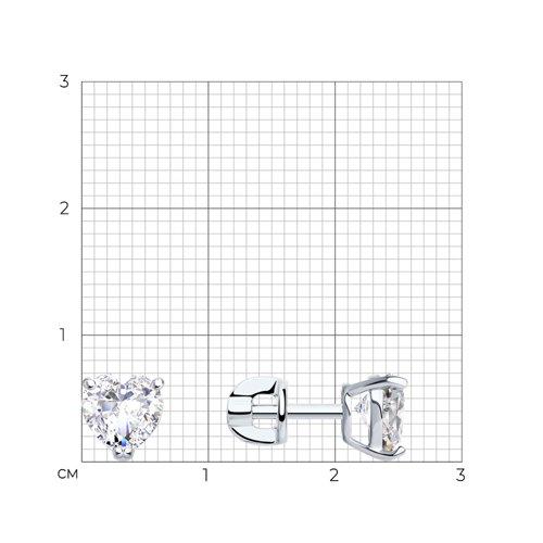 Серьги из белого золота с фианитами (026866-3) - фото №2