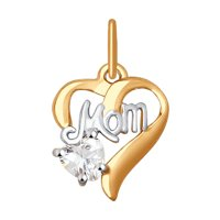 Подвеска «Мама» из золота с фианитом