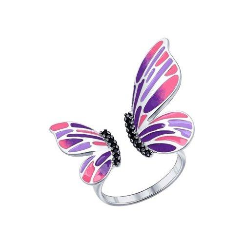 Кольцо с крылышками расписанными яркой эмалью