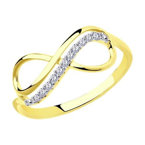 Кольцо из желтого золота с фианитами (016622-2) - фото
