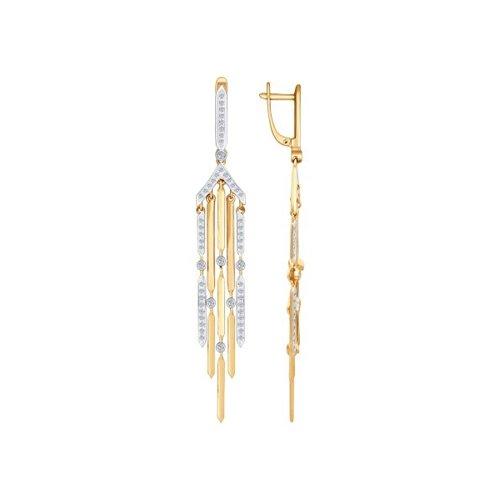 Фото - Серьги длинные SOKOLOV из золота с бриллиантами серьги длинные sokolov из золота cо swarovski zirkonia