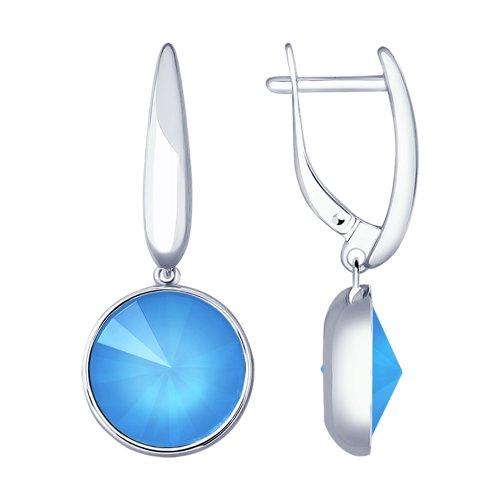 Серьги из серебра с голубыми кристаллами Swarovski (94022879) - фото