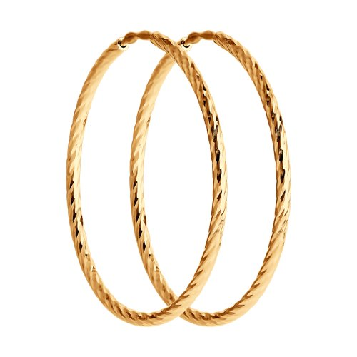 Серьги конго из золота с алмазной гранью (140146) - фото