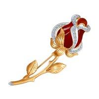 Золотая брошь «Алая роза» с бриллиантами