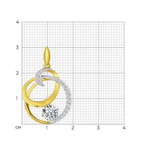 Подвеска из желтого золота с фианитами (034863-2) - фото №2