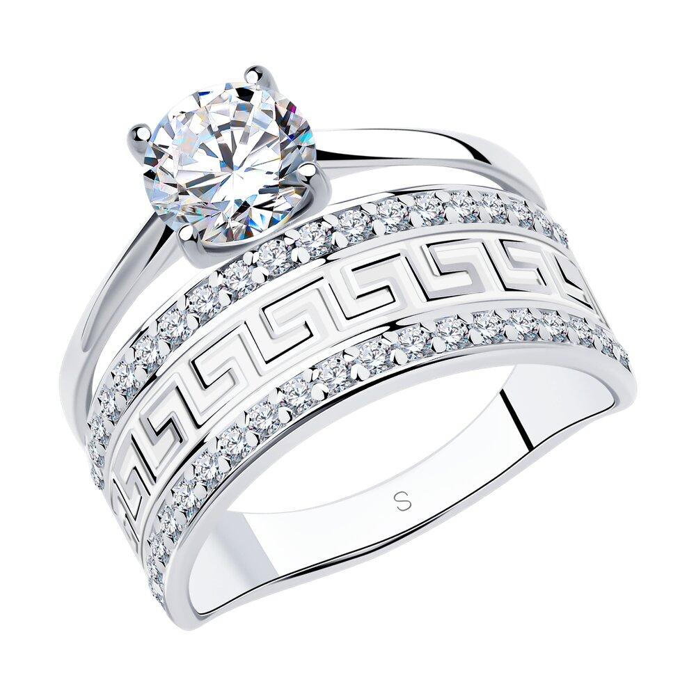 Кольцо SOKOLOV из серебра с эмалью с фианитами
