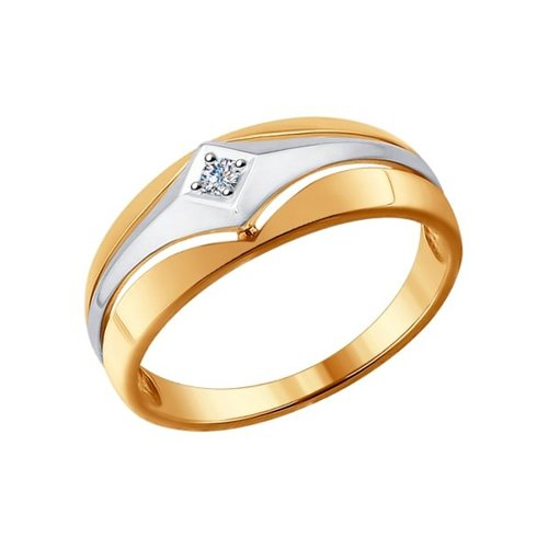 Кольцо из золота с бриллиантом (1011531) - фото