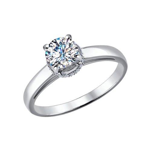 Помолвочное кольцо из белого золота (9010048) - фото