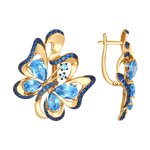 Серьги «Бабочка» из золота с топазами и синими фианитами