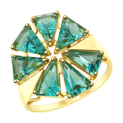 Кольцо из желтого золота с кварцем (715228-2) - фото