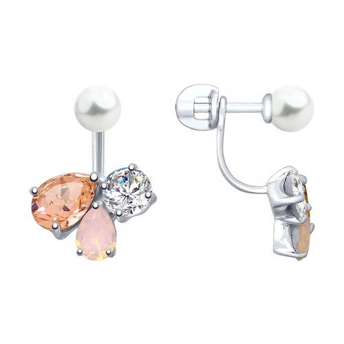 Серьги из серебра с жемчугом Swarovski и розовыми кристаллами Swarovski (94023007) - фото