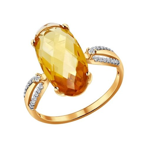Кольцо из золота с фианитами и цитрином