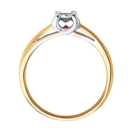 Кольцо из комбинированного золота с бриллиантом и рубином (1011811) - фото №2