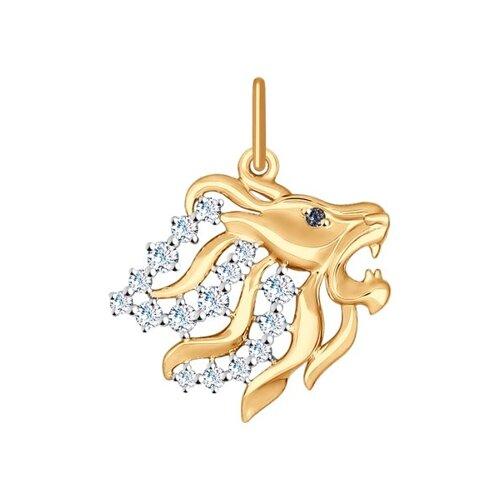 Золотая подвеска «Знак зодиака Лев»