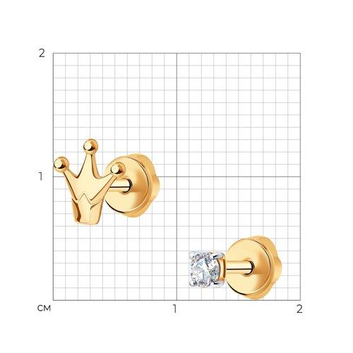 Асимметричные серьги-пусеты из золота (027271) - фото №2