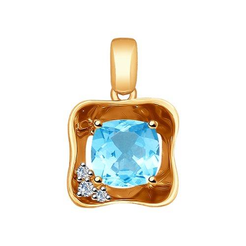 Подвеска из золота с бриллиантами и топазом (6034030) - фото