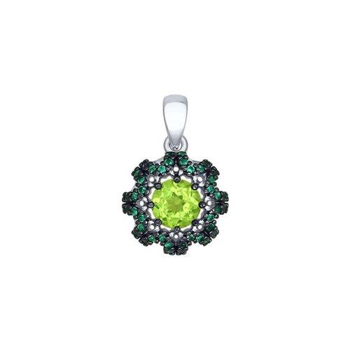 Подвеска из серебра с хризолитом и зелёными фианитами