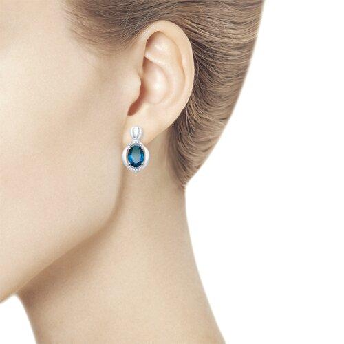 Серьги из серебра с синими топазами и фианитами (92021688) - фото №2