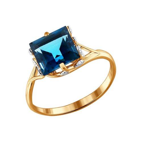Золотое кольцо с квадратным топазом london blue SOKOLOV