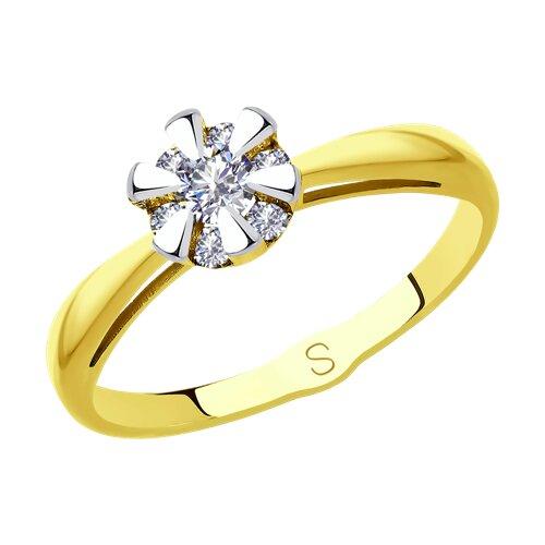 Кольцо из желтого золота с бриллиантами (1011894-2) - фото