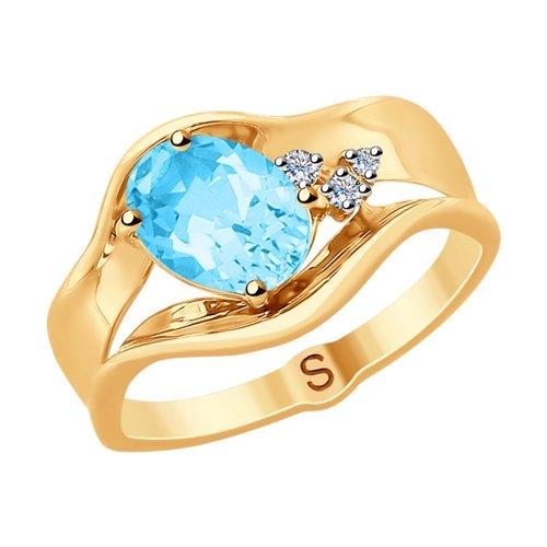 Кольцо из золота с бриллиантами и топазом (6014088) - фото