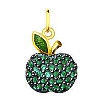 Подвеска «Яблочко» из золочёного серебра с фианитами