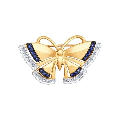 Брошь из золота с бриллиантами и корундами сапфировыми (синт.)