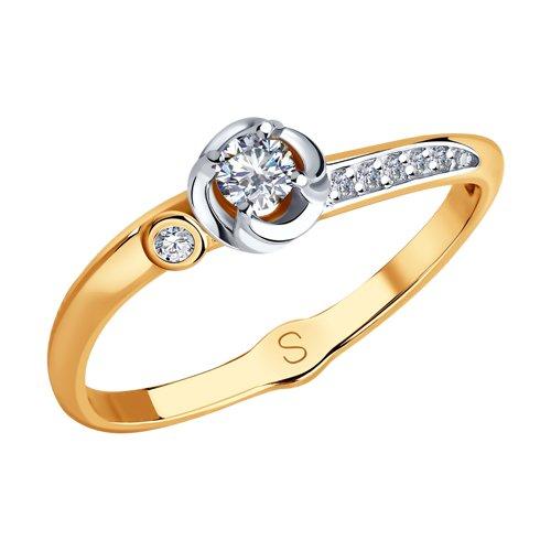 Кольцо из золота с фианитами (017968) - фото