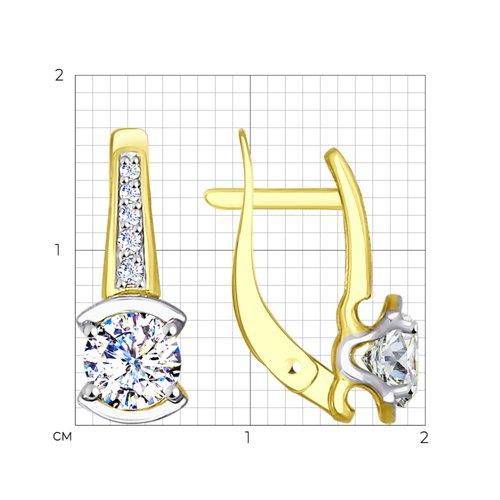 Серьги из желтого золота с фианитами (027580-2) - фото №2