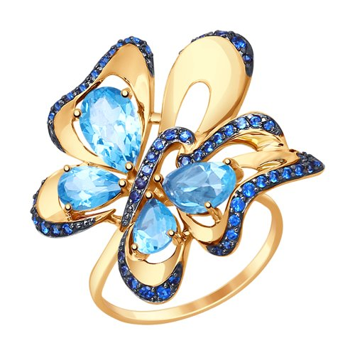 Кольцо «Бабочка» из золота с топазами и синими фианитами (714792) - фото