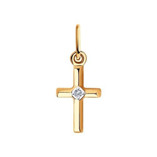 Подвеска из золота с бриллиантом (1030766) - фото