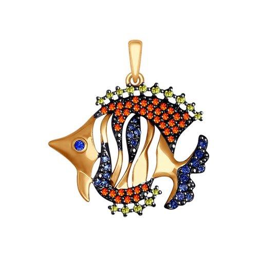 Подвеска из золота «Рыбка» с разноцветными фианитами